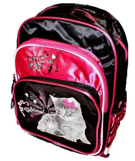 Chic Cat pink Plecak szkolny dwukomorowy black