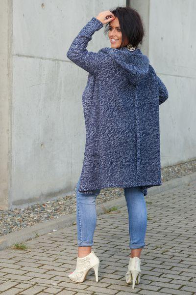 Mięciutki otulający Kardigan sweter melanż 103 zdjęcie 5