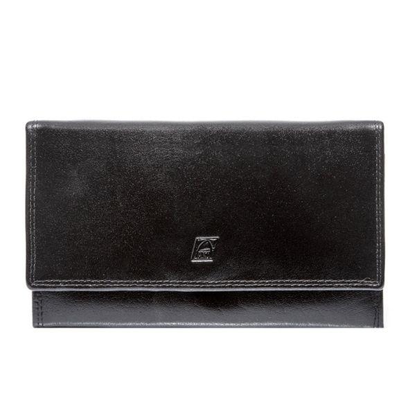 Czarny damski portfel elegancki DUŻY na bigiel skóra naturalna zdjęcie 6