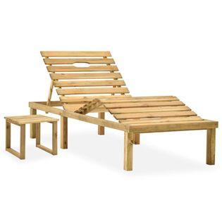 Lumarko Leżak ogrodowy ze stolikiem, impregnowane drewno sosnowe