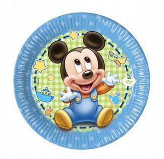 Talerzyki Mickey Baby na URODZINY ROCZEK AŻ 8szt