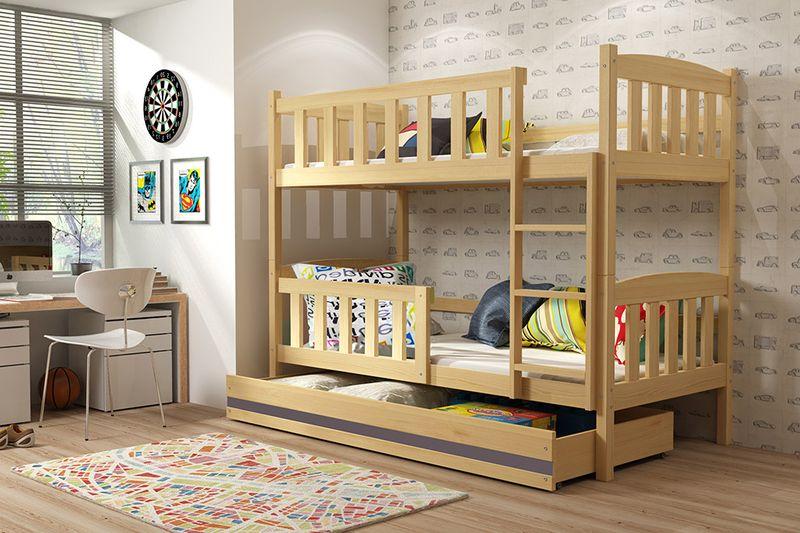 Łóżko łóżka dziecięce Kubuś piętrowe dla dwójki osób 190x80 + SZUFLADA zdjęcie 7