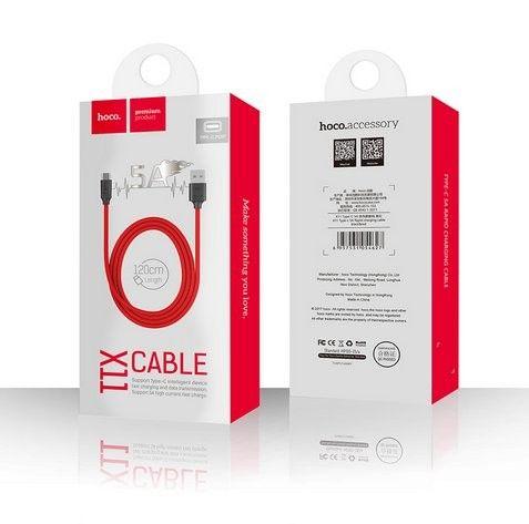 Kabel USB HOCO Typ - C Quick Charge 5A 1.2m zdjęcie 2