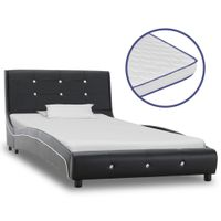 Łóżko z materacem memory, czarne, sztuczna skóra, 90 x 200 cm