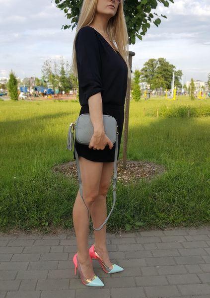 TOREBKA SKÓRZANA listonoszka frędzelek V145 czarna zdjęcie 4