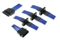 Rozgałęźnik BitFenix Molex na 4x SATA 20cm - opływowy niebiesko czarny