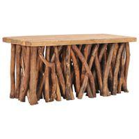 Stolik kawowy, 100x40x47,5 cm, lite drewno z odzysku i tekowe