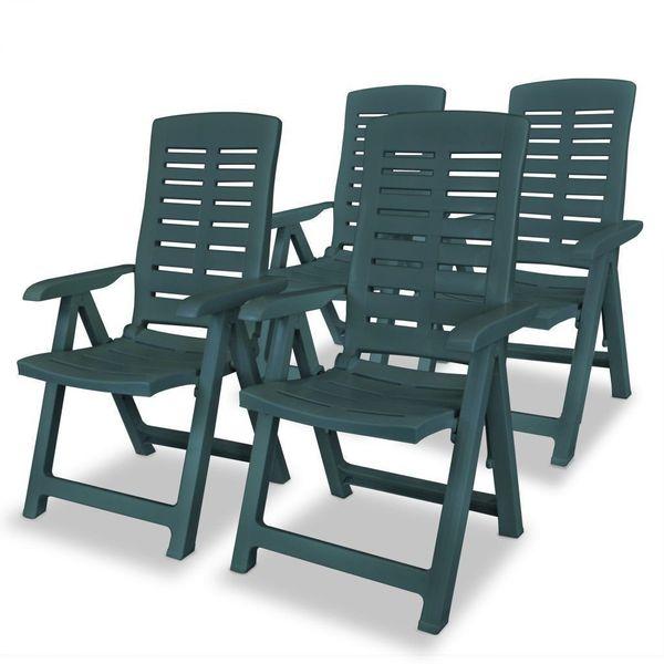 Krzesło Krzesła Ogrodowe Plastikowe 4 Sztuki Zielone