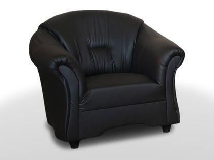 Mały fotel tapicerowany ALEX do salonu - fotel wypoczynkowy ekoskóra