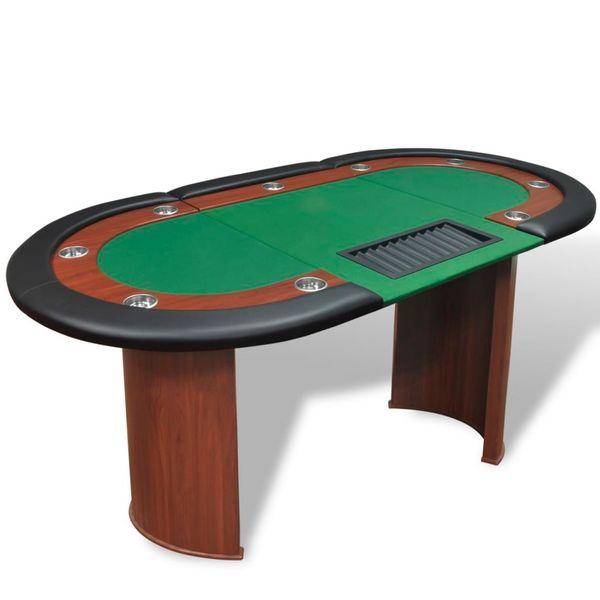 Stół do pokera dla 10 graczy z tacą na żetony, zielony zdjęcie 1
