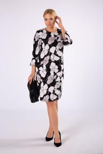Elegancka sukienka o dopasowanym kroju z falbanami przy rękawach - Czarny 40