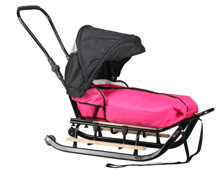 SANKI dla dzieci z budką (czarne) +śpiwór + pchacz + podnóżki + kółka zdjęcie 2