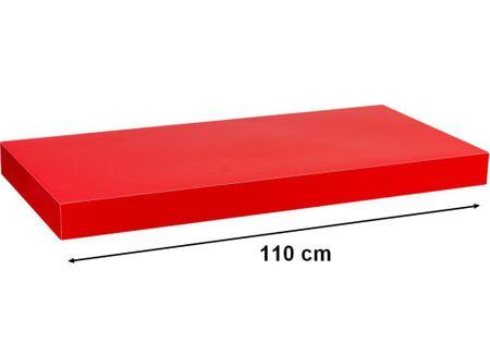 Półka ścienna STILISTA Volato wolnowisząca czerwona z połyskiem,110 cm M31080