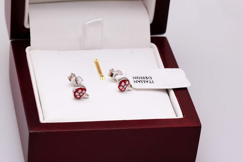 kolczyki dziewczęce srebrne GRZYBKI zdjęcie 3