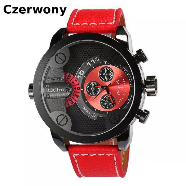 Zegarek męski Oulm 3130 wodoszczelny, czarny, czerwony, skórzany pasek zdjęcie 6