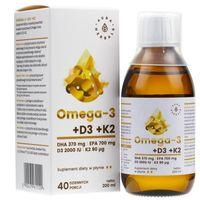 Aura Herbals Omega-3 (370 DHA) + D3 (2000IU) + K2MK7 w płynie - 200 ml