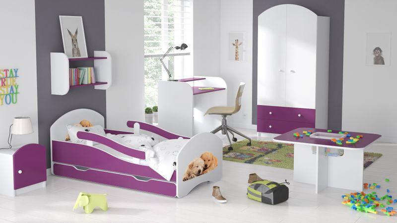 Łóżko dziecięce łóżeczko 140x70 biały / fiolet szuflada materac zdjęcie 17