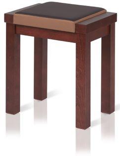 TABORET ERGO LINEA z miękkim siedziskiem stołek ORZECH CIEMNY BRĄZOWY