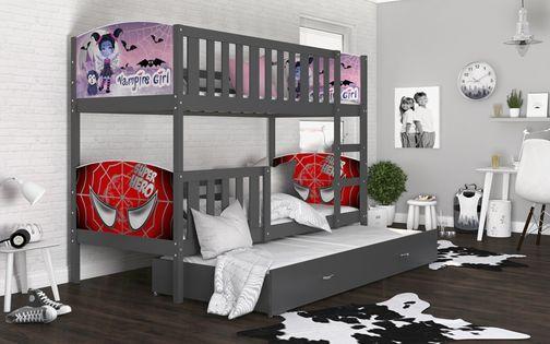 Łóżko piętrowe TAMI 3 osobowe COLOR 190x80 szuflada + materace WZORY