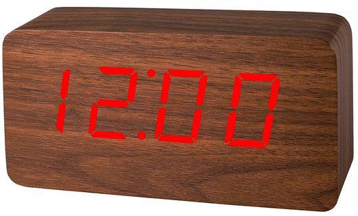 XONIX GHY-015YK Budzik LCD, drewniana obudowa, temperatura, sterowanie głosem, 3 niezależne alarmy