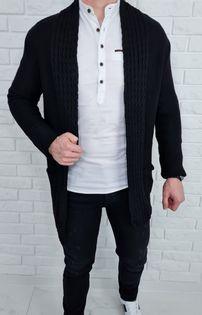 Czarny dlugi sweter kardigan kieszenie 2583 - XL