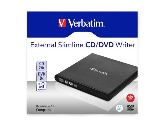 Nagrywarka zewnętrzna Verbatim CD/DVD RW USB 2.0 SLIM zdjęcie 1
