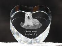 Owczarek środkowoazjatycki - kryształowe serce z wizerunkiem psa, dekoracja, prezent, kolekcja!