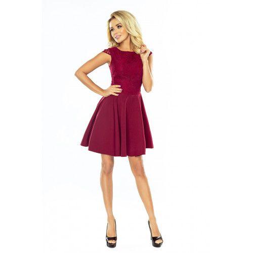 Sukienka rozkloszowana MARTA z koronką - BORDOWA L zdjęcie 3
