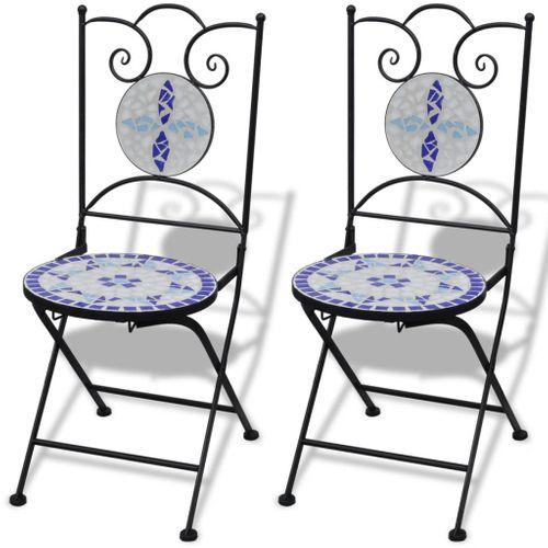 Stolik i 2 krzesła z mozaiką niebiesko-białą na Arena.pl