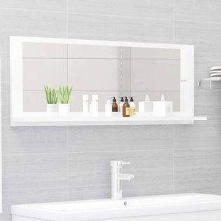Lumarko Lustro łazienkowe, wysoki połysk, białe, 100x10,5x37 cm, płyta