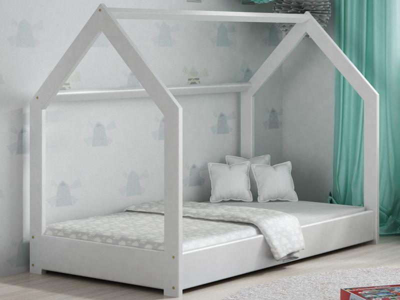 łóżko Domek Dziecięce 160x80 Dla Dzieci Białe Hit