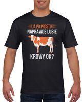 Koszulka męska Ja po prostu lubię krowy ok? S Czarny