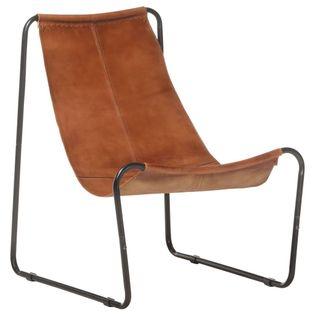 Lumarko Krzesło wypoczynkowe, brązowe, skóra naturalna!