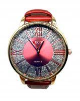 Stylowy Damski Zegarek Na Pasku z Brokatem Różowy