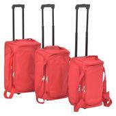 Zestaw 3 toreb podróżnych na kółkach, czerwony