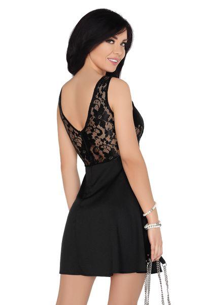 Koronkowa Sukienka przed kolano czarna bawełniana na imprezę XL zdjęcie 4