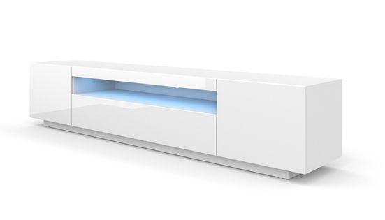 Szafka RTV 200 stojąca biały wysoki połysk oświetlenie LED