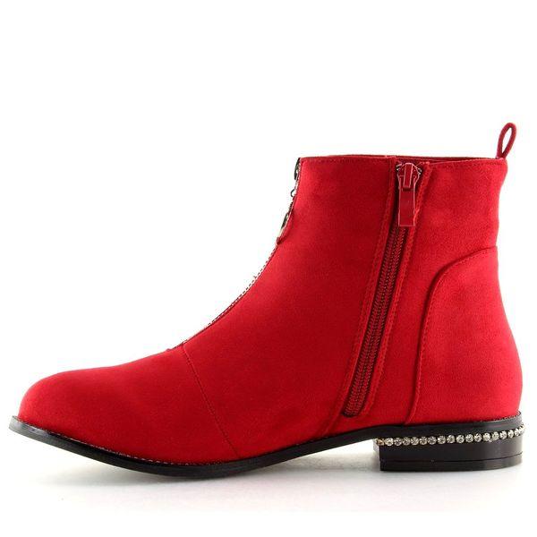 Botki damskie czerwone LL6300 RED | Sklep