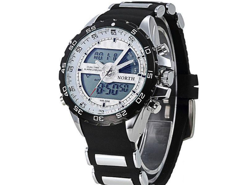 92ab5c7871ba55 Zegarek męski North 60, czarny, biały, dwa zegary, wodoszczelny, nowy  zdjęcie