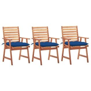 Lumarko Krzesła ogrodowe z poduszkami, 3 szt., lite drewno akacjowe;