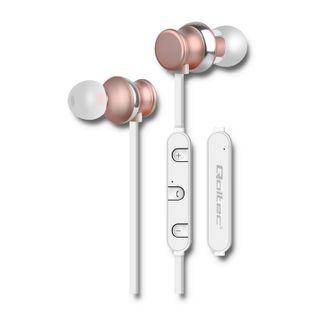 Qoltec Słuchawki PREMIUM bezprzewodowe BT dokanałowe | Magnetyczne | Mikrofon | Szampańskie
