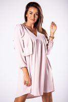 Trapezowa sukienka z falbanami na biuście i głębokim dekoltem w serek - Różowy U