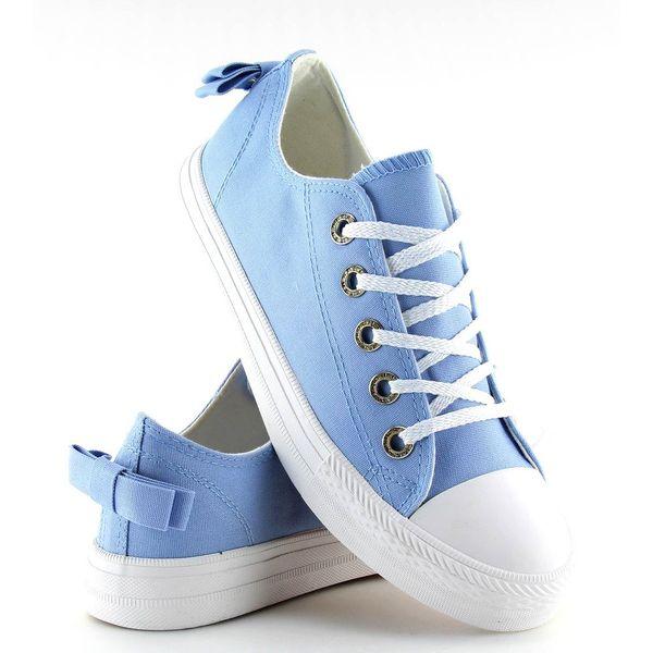Trampki damskie z kokardką niebieskie blue r.37
