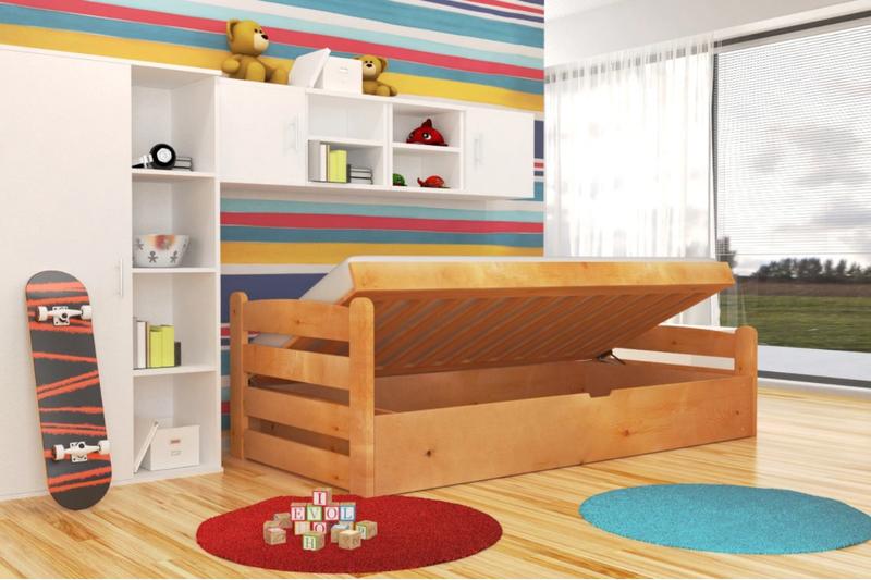Olcha łóżko Dziecięce Z Drewna Dragon 90x200 Z Pojemnikiem I Materacem