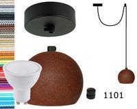 Lampa wisząca kula czarna rdza + gu10 loftowa 2m