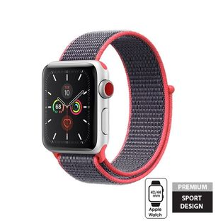 Crong Nylon Band - Pasek sportowy do Apple Watch 42/44 mm (Electric Pink)