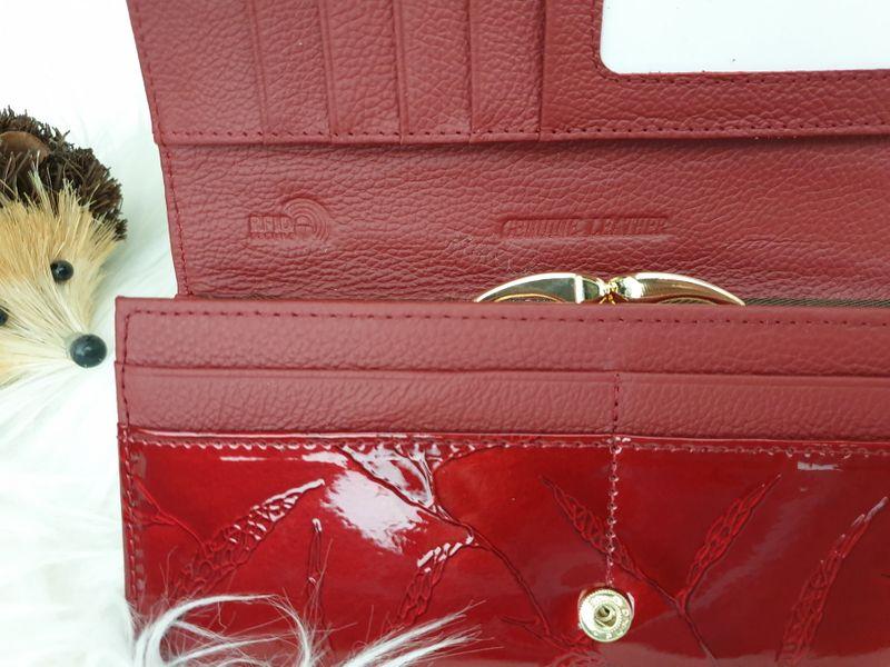 ROVICKY portfel skórzany damski lakierowany liście RFID P090 czerwony zdjęcie 7