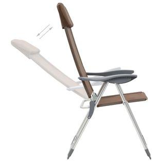 Lumarko Składane krzesła turystyczne, 4 szt., brązowe, aluminiowe!