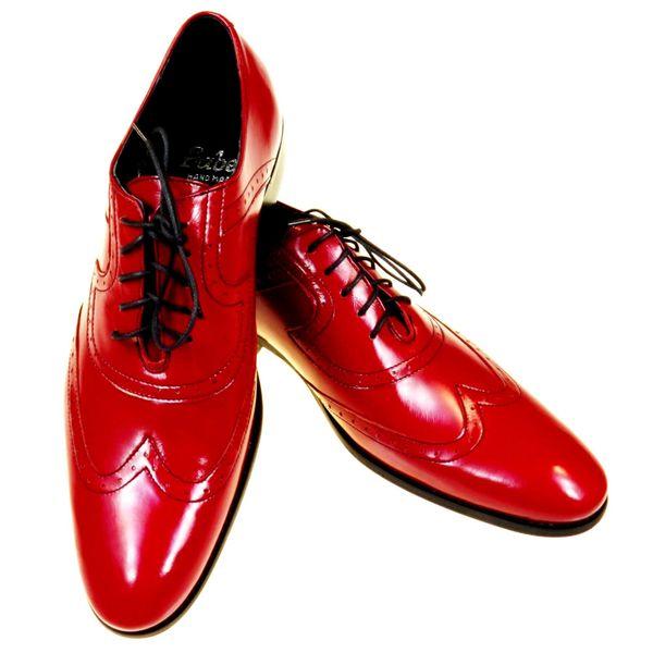 Czerwone męskie buty wizytowe - brogsy F4 T46 Rozmiar Obuwia - 43 zdjęcie 2