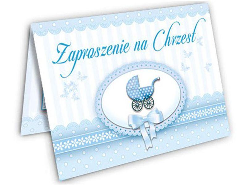 Zaproszenia Na Chrzest Dla Chłopca Niebieskie Arenapl